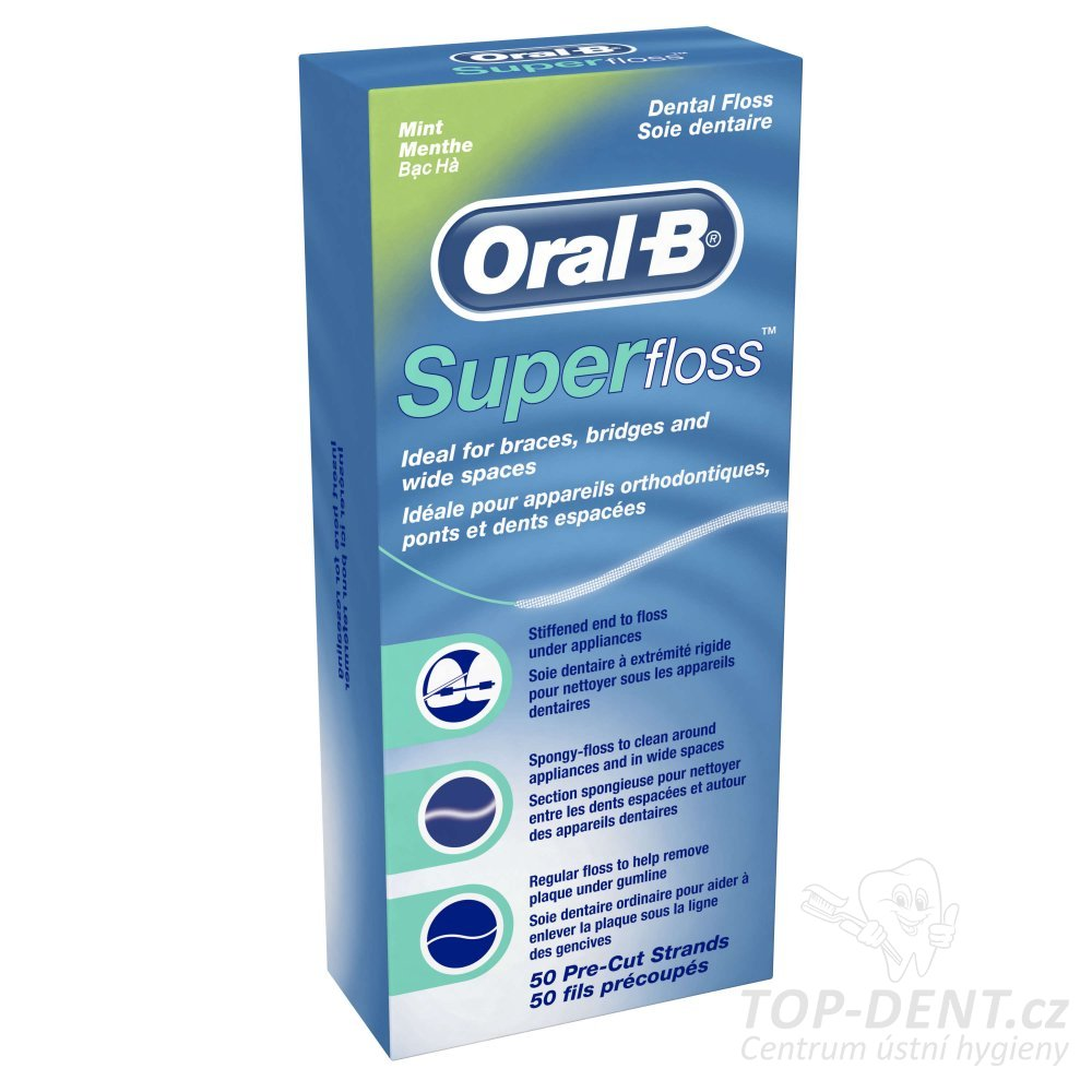 Oral-B SuperFloss zubní nit, 50 ks