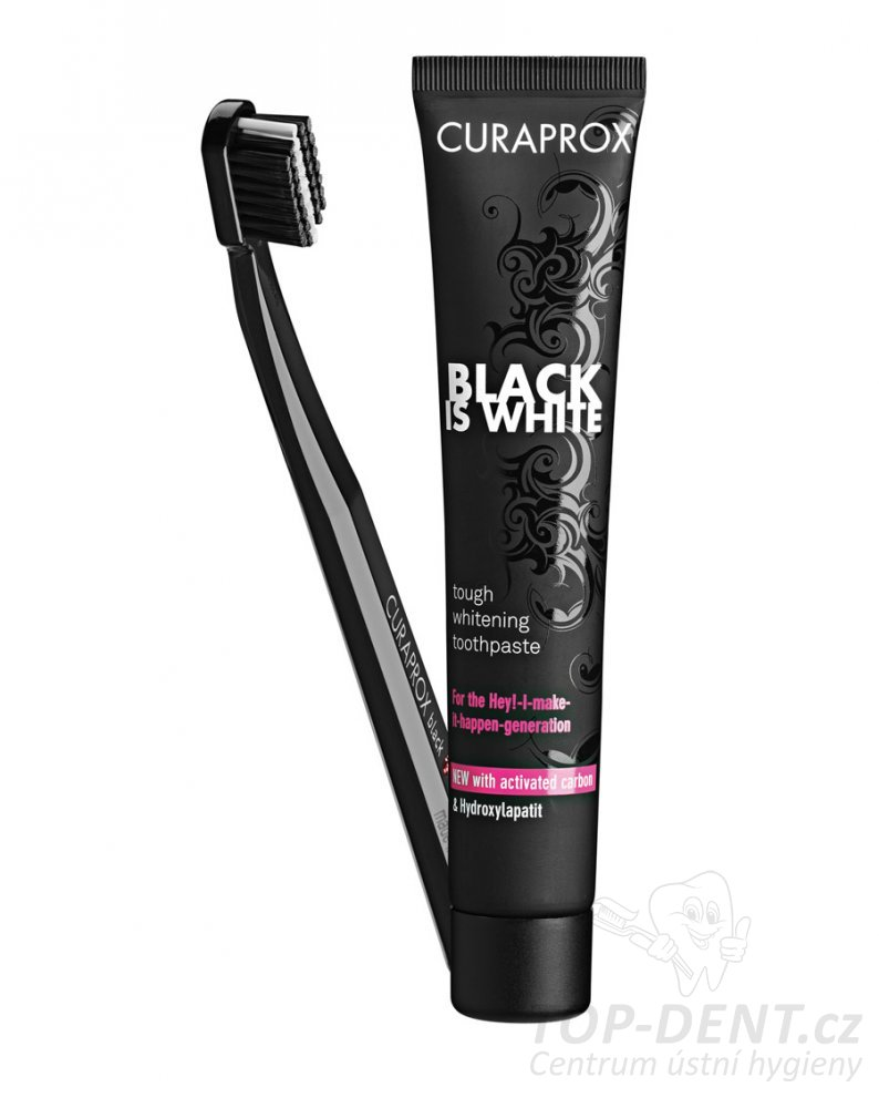 Curaprox Black is White SET zubní pasta 90 ml + CS 5460